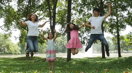 estilo de vida saudável : Asian family jumping together in the park Vídeos