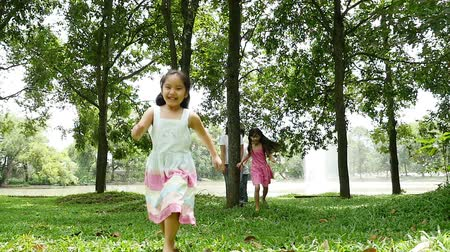 asian family : Asian family behide the tree and running together in the park, Slow motion