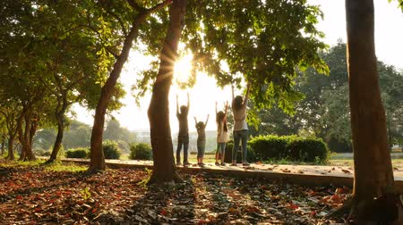 outdoor : Rear view of joyful happy Asian family hands up together at outdoor park