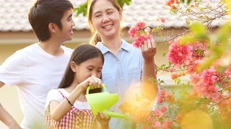 korejština : Happy Asian girl watering her flower in the garden with parents