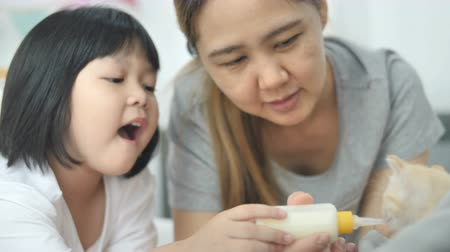 ниппель : Slow motion 4K Asian mother and daughter feeding milk for hungry cute adorable kitten