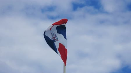 dominikana : dominican flag in the wind Wideo