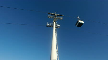 anıt : modern cable car in lisbon in portugal Stok Video