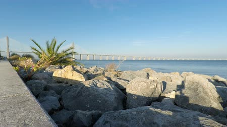 lizbona : tajo river and bridge in lisbon portugal Wideo