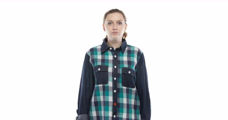 mês : Caucasian pregnant woman in green plaid shirt Stock Footage