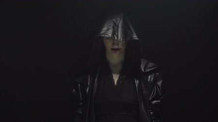 pohanský : Witch in leather black hood