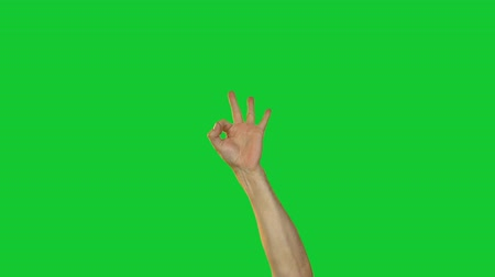 okey : Male okey gesture on green background Stock Footage