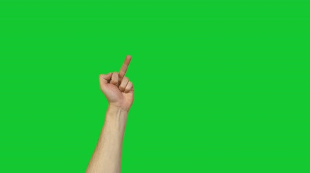 transação : Male fuck gesture on green background Stock Footage