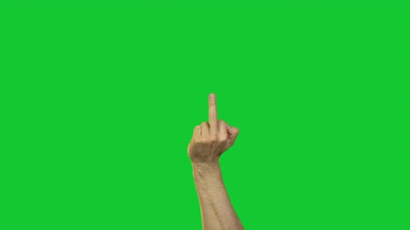 transação : Male middle finger on green background