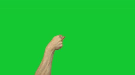 кулак : Fico gesture on green background