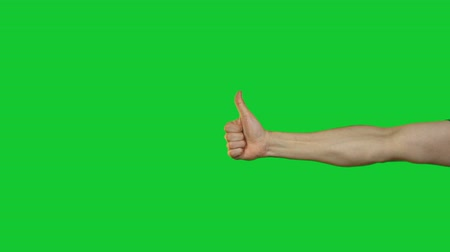 okey : Male thumb gesture on green background