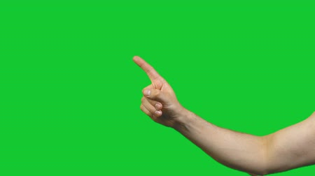 taboo : Male taboo gesture on green background Stock Footage