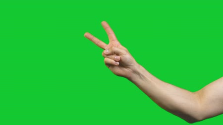 palms isolated : Peace gesture on green background Stock Footage