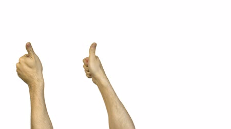 okey : Male thumbs on white background