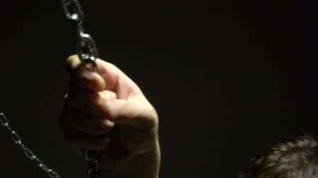 prisioneiro : Frightened addict trying to break the chains Stock Footage