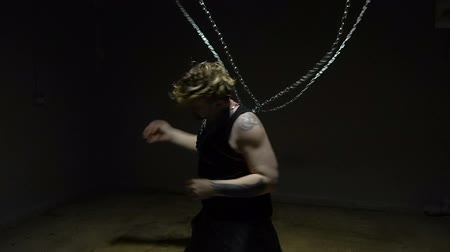 slave : Mad blond captive bound in chains