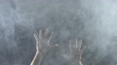 sós : Texture of white smoky cloud with hands, 4k