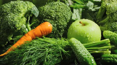 fennel : Video of green vegetables with falling carrot