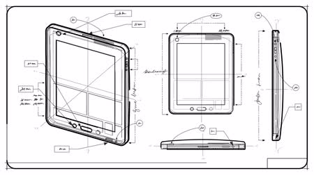 engineering : Tablet PC Technical Drawing Stock Footage