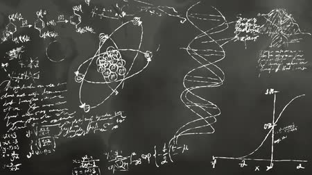 tablica : Math and Science Blackboard Scribbling Wideo