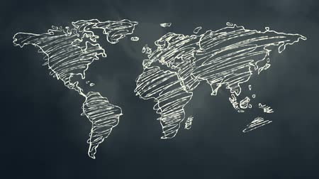 учение : World Map Scribbling on a Chalkboard