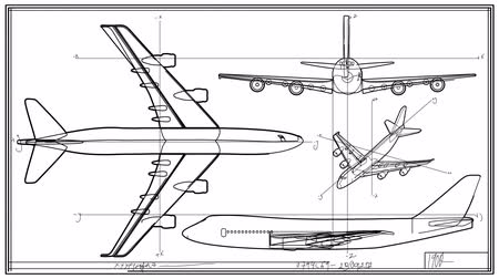 strojírenství : Aircraft Technical Drawing Time Lapse