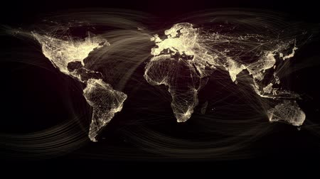 złoto : Glowing Network Lines Lighting Up World Map (Gold Version)