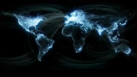 sosyal : Glowing Network Lines Lighting Up World Map Stok Video