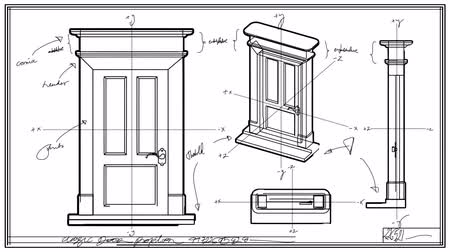 vonalvezetés : Door Technical Drawing Time Lapse