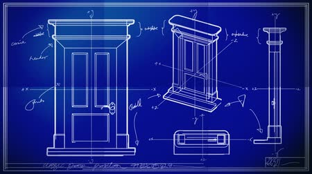 bina : Door Technical Drawing Blueprint Time Lapse