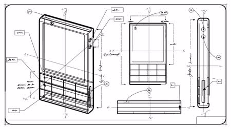 engineering : Classic Smartphone Technical Drawing