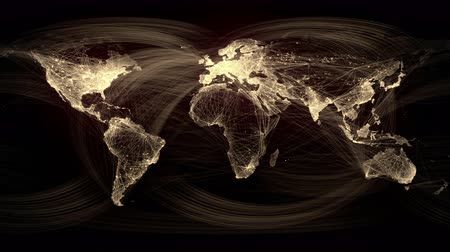 dizilirler : Network Lines Lighting Up World Map 4K. Gold Version. Very detailed. Can be used as a high resolution texture or projection map. Stok Video