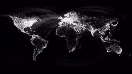 vonal : Network Lines Lighting Up World Map 4K. Black and White Version. Very detailed. Can be used as a high resolution texture or projection map.