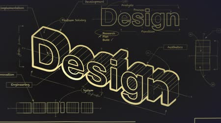 illustrazione : A Blueprint for Design Versione Oro Filmati Stock