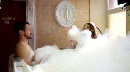 foam bath : Sexy Girl and Hot Boy Have Fun