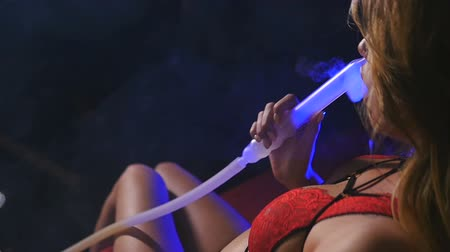 чулки : Beautiful Sexy Girl in Underwear Smoking Hookah