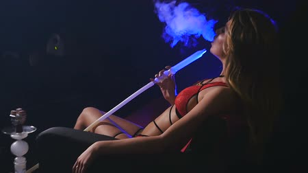 chill out : Beautiful Sexy Woman in Underwear Smoking Hookah