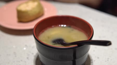 tofu : Sushi and miso soup in Japanese restaurant. Stock Footage