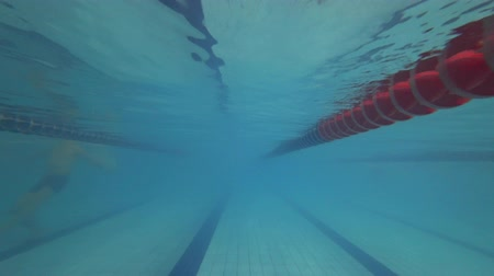 yüzme havuzu : The view of swimming pool. Under water Stok Video