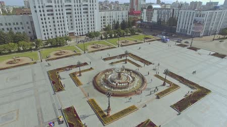 lenin : top aerial view over the fountain on the square Russia Khabarovsk Lenin square