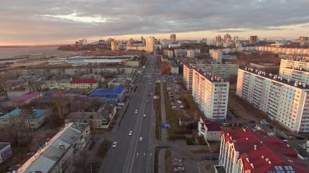 moscow : top aerial view city on sunset