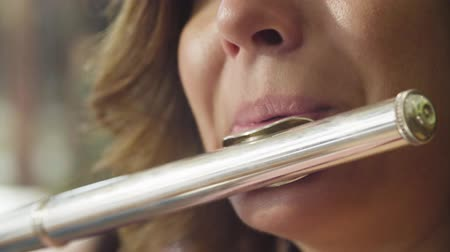 enstrümanlar : Portrait of young woman playing a flute Stok Video