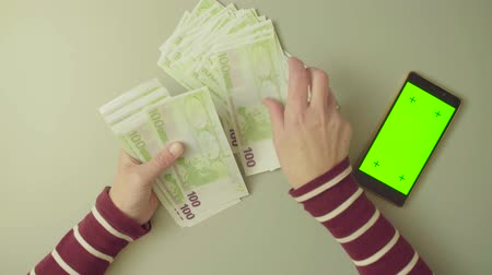 cem : Green screen. Female hands counting money Vídeos
