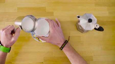 coffee press : Making cappuccino without an espresso machine Stock Footage