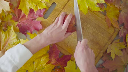 top chef : Autumn naturemorte. Chef cutting a garnet