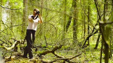 naturalist : The ecologist making photos in the forest. Stock Footage