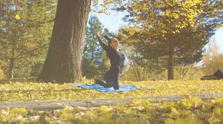 pan shot : Young attractive woman doing yoga exersices in the park