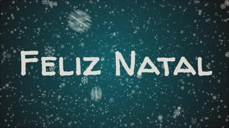 natal : Animation Feliz Natal - Merry Christmas in portuguese, falling snow, blue background