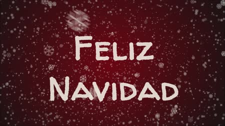Навидад : Animation Feliz Navidad - Merry Christmas in spanish, falling snow, red background
