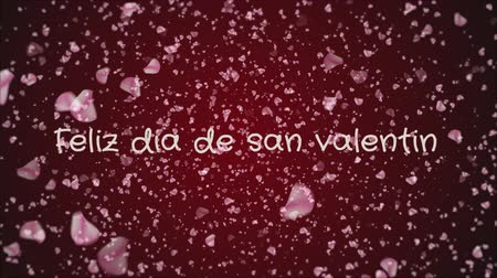 amour : Animation Feliz dia de san Valentin, Happy Valentines day in spanish language, greeting card Stock Footage